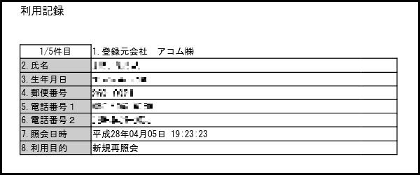 アコム利用記録1