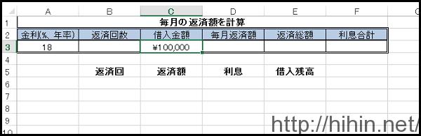 借入返済を計算できるエクセル